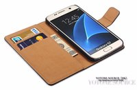 Wholesale Genuine Battery For Blackberry - Luxury Wallet Genuine Leather Case for Samsung Galaxy S8 S7   S7 Edge iphone 8 7Coque Flip Cover Stand Design with Card Slot New