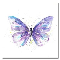 Wholesale Purple Picture Frames - Beautiful Purple Burtterfly Painting on Canvas Home Decor Living Room Wall Pictures Hand made Oil Painting On Canvas Animal Art No framed