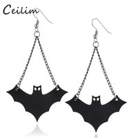 Wholesale Vampire Bats - 2017 Fashion Long Black PU leather Vampire Dangle Earrings Goth Halloween Vampire Bat Charms Earring For Women Hip Hop Jewelry Wholesaler
