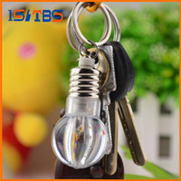 Wholesale Colored Led Keychain - Creative Colorful Changing LED Flashlight Light Mini Bulb Lamp Key Chain Ring Keychain Clear Lamp Torch Keyring Wholesale