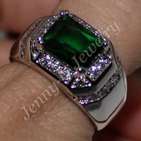 Wholesale Mens Handmade Rings - Size 9 10 11 COOL Mens Handmade Stainless Steel Green Emerald Band Solitaire Ring