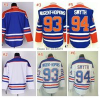 venta de camisetas de hockey en blanco al por mayor-Hot Sale 93 Ryan Nugent-Hopkins Hockey Jersey Azul Blanco Nuevo 94 Ryan Smyth Hockey Jersey Edmonton Blank 100% Cosido