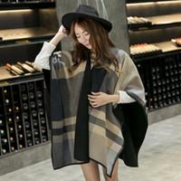 Wholesale Grey Coat Wool Woman - 2016 Oversized cashmere scarf blanket sPashmina coat lady woman fashion wool blend matching plaid open shawl