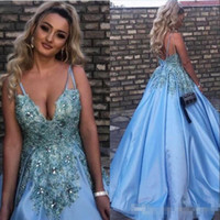 Wholesale Long Baby Blue Prom Dresses - Baby Blue 2018 Evening Dresses Lace Appliques Crystals Long Prom Gowns A Line V Neck Sexy Celebrity Special Occasion Gowns