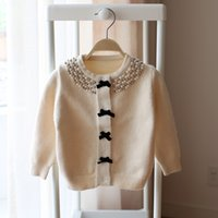 Wholesale Girls Cardigans Pearls - Everweekend Baby Pearls Neckline Knitted Sweater Cardigan Bow Candy Color Autumn Spring Clothing Sweet Baby Blouse