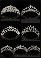 Wholesale Crowns For Weddings - 2018 Trendy 10 Styles Cheapest Shining Rhinestone Crown Girls' Bride Tiaras Fashion Crowns Bridal Accessories For Wedding Event