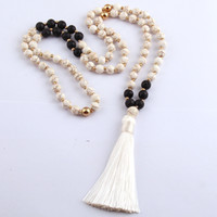 Wholesale Long Tribal Jewelry Necklace - Free Shipping Fashion White Stones Bohemian Tribal Jewelry Long White Tassel Necklace For Women Lariat Necklaces
