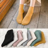geração de algodão venda por atacado-Mulheres moda quente doce meias de algodão Meias duplas agulha Marca Pure lazer meias de algodão por atacado fabricantes de uma geração