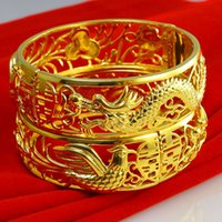 Wholesale Happiness Bangle - Gold as gold bracelet female gold bracelet Double Happiness wide domineering word dragon Bride Wedding Jewelry