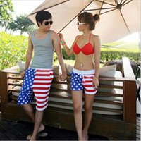 Wholesale Beach Surf Pants Women - Wholesale-New! Fashion American Flag Beach Shorts Men & Women Beach short Pants Black White Stripe Stars Lovers Sport short Pants Surf