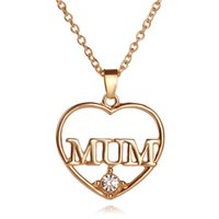 Wholesale Wholesale 18k Real Gold - Mother's Day Gift Love MUM Heart Pendant 18K Real Gold Plated Rhinestone Necklaces & Pendants Jewelry For Women