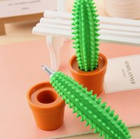 Wholesale Office Stationery Advertising - Green plants Creative stationery Advertising ball pen Spike Cactus Pen   Funny Cactus Ballpoint Pen with Plant Pot Freeshipping JF-16