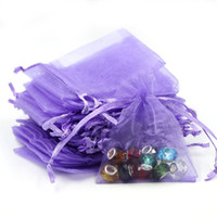 Wholesale Purple Bean Bags - 7x9cm Purple Organza Jewelry Bags Coffee Beans Bags Small Drawstring Pouches Customed Logo Printing 500pcs lot Wholesale