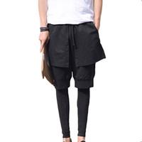 Wholesale Dance Pants Skirts - Wholesale-Mens Skirt Gothic Punk Style Club Dance Black Special Design Stylish Harem Cross Pants Fake 3 pcs Casual Men's Sport Trousers