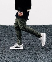 Wholesale justin bieber pants trouser - Wholesale-Justin bieber brand style side zipper men slim fit casual mens hip hop jogger biker pants swag sweatpants skinny trousers olive