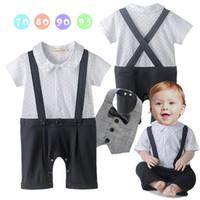 Wholesale Gentleman Baby Bib - Summer Baby Boys onesies Rompers Infant Gentleman Star Short Sleeve Jumpsuit Plaid Bib Outfit Sets Baby Clothing 12085