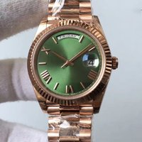 Wholesale Watches Mens Gold Geneva - High Quality Mens luxury brand men Rose gold day date green dial roman number geneva watch Water Resistant Fashion Silver Watches