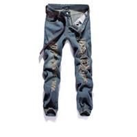 Wholesale Jeans Broken - Wholesale-2016 New Arrival Fashion Broken-Hole Skinny Jeans Men Small Straight Hip Hop Ripped Jeans For Men Pantalon Homme Plus Size 28-36