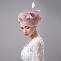 2017 Femmes Bridal Chapeau lin avec Feather Lady Chic Fascinator Hat Cocktail Party Wedding Church Headpiece Accessoires cheveux