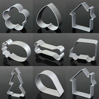 Wholesale Craft Ware - Wholesale- Star Tree Shape Aluminum Biscuit Mould Bake Ware Fondant Cake Mold DIY Sugar Craft 3D Pastry Cookie Cutters