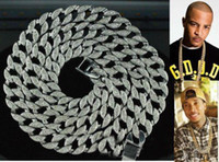 "Wholesale Simulated Diamond Rose Gold - Hip Hop Bling Iced out 30"" Simulated Diamond 15mm Cuban Link Chain Necklace Men's Jewelry accessories"