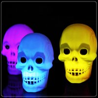 Wholesale Skeletons Props - 2016 new Led Pumpkin Skeleton light Hallowmas christmas Party Decoration Prop Bedside Table Light 5cm Halloween Lamp