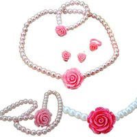 Wholesale Kids Pearl Bracelets Flower - PrettyBaby Lovely Baby Girl's Imitation Pearls Beads Jewelry Rose Flower Necklace Bracelet Rings Earrings Set Children Kids Gift 5 colors