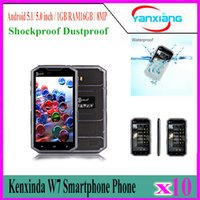 Wholesale Dual Sim Standby Touch - 10pcs Kenxinda W7 5 inch Android 5.1 4G Smartphone MTK6735 2GB 16GB IP68 Waterproof Dustproof Shockproof Dual SIM Dual Standby YX-W7-01