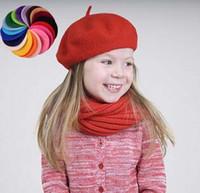 Wholesale Wholesale Felt Hats For Children - Pretty Kids Pure Wool Berets Caps for Autumn Winter Boys Girls Solid Colors Woolen Felt Hats 6pcs lot Wholesale Children Beret Cap