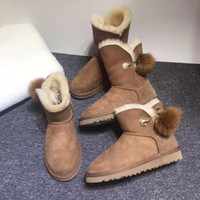 Wholesale Heel Balls - 2017 fashion waterproof brow snow boots original brand women shoes A+++ quality boots Genuine Leather Half Boots with fur ball