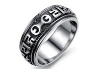 Wholesale Mani Padme - new model Men's Ring style rock creative titanium stainless steel rings Om mani padme hum Men's rock band