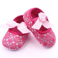 Wholesale Crochet Loops - Summer New Fashion Girls Lovely Princess Hollow Hand-crocheted Baby First Walkers Soft Bottom Toddler Shose 6 pairs lot