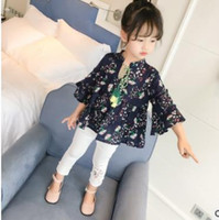 Wholesale Three Quarter Sleeve Floral Blouse - Girls blouses Kids floral printed butterfly sleeve tassel Bows Bandage shirt fashion child pleated lace tops 2017 new girls clothes G0557