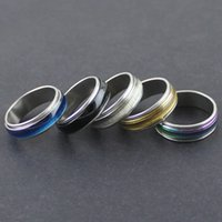 Wholesale Transparent Opal - Stainless Steel Rotating Ring Transparent Opal Wedding Ring Men And Women Fashion Index Finger Ring 5 Colors Wholesale Jewerly Lots
