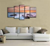 impressionistische malereien großhandel-5 Bild CombinModern Dekorative Kunst Wandbilder Leinwand Druck Impressionist Landschaft Bilder Kombination für Wohnzimmer Und Büro