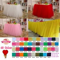 Wholesale 46 color wedding table skirt tutu Table Skirt with100 Polyester tulle table cloth Solid in Height Table cover for party