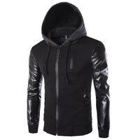 Wholesale Zippers Jackets - Wholesale- Men 's Hooded Jacket Coat Fashion Stitching Leather Sleeve Male Zipper Casual Overcoat Black Dark Gray