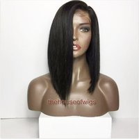 Wholesale Long Black Bob Wig - Short cut Human hair Wigs Full Lace Bob Cut Wigs For Black Women Virgin Human Hair Lace Front Wigs Baby Hair