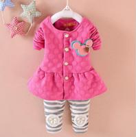 Wholesale Girls Piece Suit Cardigan - Autumn kids suit girl Minnie clothing cardigan+stripe pant set 2 pieces children clothes suit cotton clothing 4 s l