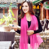 Wholesale Silk Chiffon Scarf Silver - High quality! 2016 scarf women pure color silk scarf 160*50cm