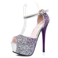 Wholesale Sequined Head Bands - New European and American Fashion Ladies High-heeled Shoes Sexy Shiny Gradient Color Nightclub Women Shoes Thin Fish Head women sandals