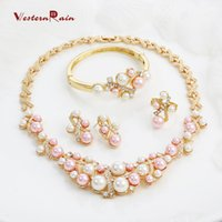 Wholesale Artificial Pearl Jewelry - WesternRain Free shipping Fashion Pink Pearls Costume Jewelry Ladies Artificial Pearl Necklace Set New Product 2016 Gold plated jewelry A062