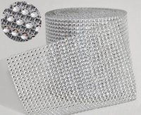 "Wholesale Diamond Mesh Roll Rhinestone - Wedding Decoration 10yard roll 4.75"" 24 Rows manmade Diamond Mesh yards wrap Rhinestone Ribbon Crystal trim Wrap sparkle bling ribbon WT029"