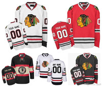 hockey personnalise maillot achat en gros de-Hommes personnalisés Chicago Blackhawks Jerseys Custom Stitched Any Name Any Number Hockey sur glace Jersey, authentique Jersey Broderie Logos Taille 46-56