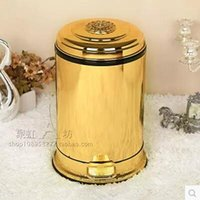 Wholesale Trash Bins Stainless Steel - home application European style gold plated with floral foot pedal waste bins trash bingarbage bin 2241