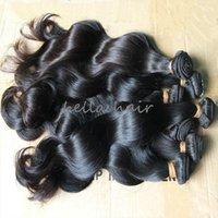 siyah vücut dalgası saç tokası toptan satış-Bella Hair® 8A Perulu insan saçı örgü doğal siyah renk vücut dalga insan saçı örgü çift atkı saç demetleri