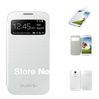 Wholesale S4 View Battery Case - WaterProof Flip View Smart Wake Up Sleep Leather PU Battery Housing Case Cover For Samsung Galaxy S4 i9500 Mobile Phone Case
