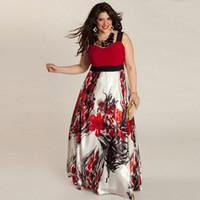 Wholesale Large Size Night Dresses - Wholesale- XL-5XL Large Size Summer Dress Women Sleeveless Flower Print A-line Maxi Long Dresses Plus Size Clothing XXXL XXXXL XXXXXL OK
