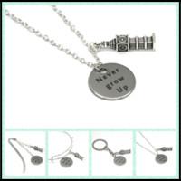 Wholesale grow big - 12pcs lot Never Grow Up necklace bracelet keyring bookmark Big Ben charm necklace