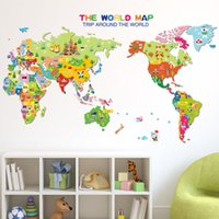 Wholesale Diy Removable Word Wall Stickers - 50*70cm Wall Stickers DIY Art Decal Removeable Wallpaper Mural Sticker for Bedroom Kids Room Classroom XL7123 Cartoon Animals the Word Map